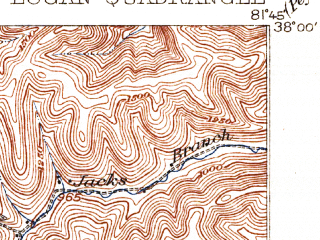 Reduced fragment of topographic map en--usgs--063k--056841--(1913)--N038-00_W082-00--N037-45_W081-45; towns and cities Logan, Mitchell Heights, Robinette