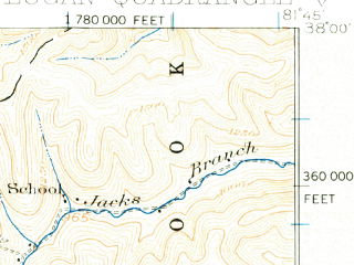Reduced fragment of topographic map en--usgs--063k--056841--(1926)--N038-00_W082-00--N037-45_W081-45; towns and cities West Logan, Logan, Mitchell Heights