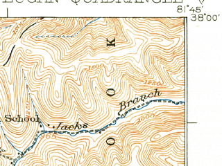 Reduced fragment of topographic map en--usgs--063k--056841--(1928)--N038-00_W082-00--N037-45_W081-45; towns and cities Logan, Mitchell Heights, Robinette
