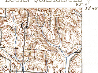 Reduced fragment of topographic map en--usgs--063k--056842--(1909)--N039-45_W082-30--N039-30_W082-15; towns and cities Logan, Bremen, Junction City