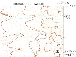 Reduced fragment of topographic map en--usgs--063k--056860--(1961)--N038-15_W117-30--N038-00_W117-15