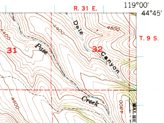 Reduced fragment of topographic map en--usgs--063k--056869--(1949)--N044-45_W119-15--N044-30_W119-00; towns and cities Long Creek
