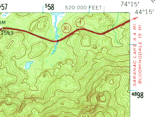 Reduced fragment of topographic map en--usgs--063k--056875--(1955)--N044-15_W074-30--N044-00_W074-15 in area of Follensby Pond; towns and cities Tupper Lake