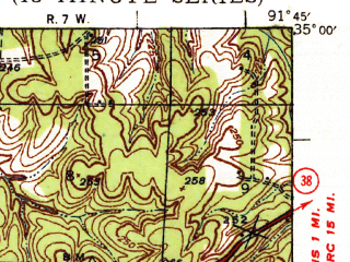Reduced fragment of topographic map en--usgs--063k--056886--(1940)--N035-00_W092-00--N034-45_W091-45; towns and cities Austin, Lonoke