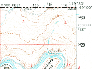 Reduced fragment of topographic map en--usgs--063k--056908--(1956)--N049-00_W119-45--N048-45_W119-30 in area of Palmer Lake