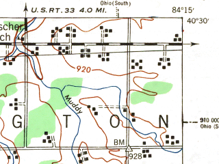 Reduced fragment of topographic map en--usgs--063k--056911--(1944)--N040-30_W084-30--N040-15_W084-15 in area of Lake Loramie; towns and cities Minster, New Bremen, New Knoxville
