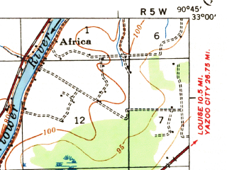 Reduced fragment of topographic map en--usgs--063k--056913--(1939)--N033-00_W091-00--N032-45_W090-45; towns and cities Anguilla, Cary, Rolling Fork