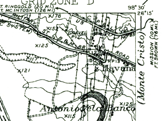 Reduced fragment of topographic map en--usgs--063k--056915--(1956)--N026-15_W098-45--N026-00_W098-30