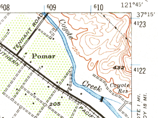 Reduced fragment of topographic map en--usgs--063k--056917--(1940)--N037-15_W122-00--N037-00_W121-45; towns and cities Los Gatos, Day Valley, Lexington Hills, Monte Sereno