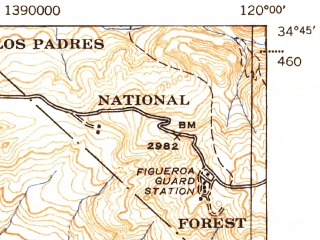 Reduced fragment of topographic map en--usgs--063k--056920--(1943)--N034-45_W120-15--N034-30_W120-00; towns and cities Buellton, Santa Ynez, Solvang
