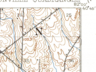 Reduced fragment of topographic map en--usgs--063k--056928--(1914)--N040-45_W082-15--N040-30_W082-00; towns and cities Glenmont, Loudonville, Nashville
