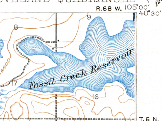 Reduced fragment of topographic map en--usgs--063k--056936--(1908)--N040-30_W105-15--N040-15_W105-00 in area of Boyd Lake, Fossil Creek Reservoir; towns and cities Loveland, Berthoud, Campion