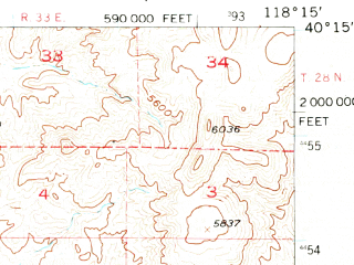 Reduced fragment of topographic map en--usgs--063k--056939--(1956)--N040-15_W118-30--N040-00_W118-15; towns and cities Lovelock