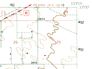 Reduced fragment of topographic map en--usgs--063k--056943--(1962)--N033-00_W103-30--N032-45_W103-15; towns and cities Lovington