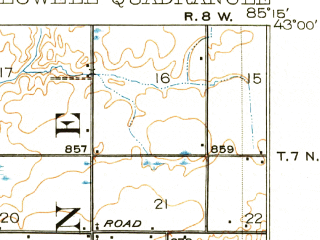 Reduced fragment of topographic map en--usgs--063k--056945--(1918)--N043-00_W085-30--N042-45_W085-15; towns and cities Forest Hills, Freeport, Lowell