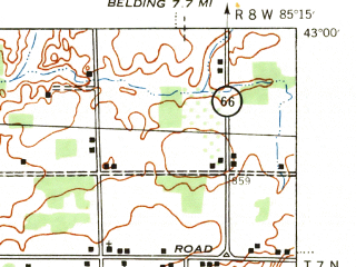 Reduced fragment of topographic map en--usgs--063k--056945--(1943)--N043-00_W085-30--N042-45_W085-15; towns and cities Forest Hills, Freeport, Lowell