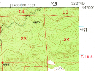 Reduced fragment of topographic map en--usgs--063k--056946--(1955)--N044-00_W123-00--N043-45_W122-45 in area of Dorena Lake; towns and cities Lowell