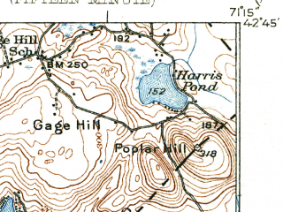 Reduced fragment of topographic map en--usgs--063k--056947--(1935)--N042-45_W071-30--N042-30_W071-15; towns and cities Lowell, Nashua, Chelmsford, Littleton Common