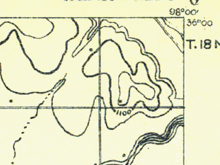Reduced fragment of topographic map en--usgs--063k--056953--(1893)--N036-00_W098-15--N035-45_W098-00; towns and cities Loyal
