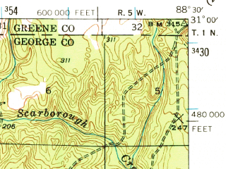 Reduced fragment of topographic map en--usgs--063k--056959--(1941)--N031-00_W088-45--N030-45_W088-30; towns and cities Lucedale