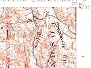 Reduced fragment of topographic map en--usgs--063k--056968--(1932)--N043-30_W072-45--N043-15_W072-30; towns and cities Chester-chester Depot, Ludlow, Perkinsville