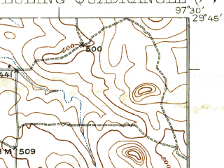 Reduced fragment of topographic map en--usgs--063k--056975--(1929)--N029-45_W097-45--N029-30_W097-30; towns and cities Luling