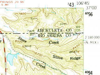 Reduced fragment of topographic map en--usgs--063k--056976--(1955)--N037-00_W107-00--N036-45_W106-45; towns and cities Dulce
