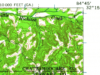 Reduced fragment of topographic map en--usgs--063k--056978--(1955)--N032-15_W085-00--N032-00_W084-45; towns and cities Lumpkin