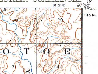 Reduced fragment of topographic map en--usgs--063k--056982--(1909)--N035-45_W097-15--N035-30_W097-00; towns and cities Wellston, Fallis, Luther