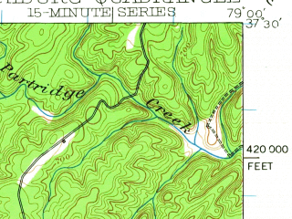 Reduced fragment of topographic map en--usgs--063k--056997--(1950)--N037-30_W079-15--N037-15_W079-00; towns and cities Lynchburg, Madison Heights, Timberlake