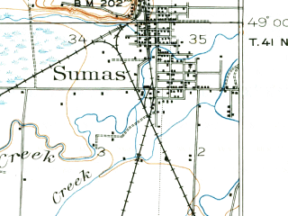 Reduced fragment of topographic map en--usgs--063k--056998--(1906)--N049-00_W122-30--N048-45_W122-15; towns and cities Lynden, Sumas, Everson, Nooksack