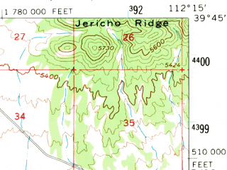 Reduced fragment of topographic map en--usgs--063k--057002--(1962)--N039-45_W112-30--N039-30_W112-15; towns and cities Leamington, Lynndyl