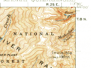 Reduced fragment of topographic map en--usgs--063k--057015--(1940)--N044-00_W113-45--N043-45_W113-30 in area of Mackay Reservoir; towns and cities Mackay