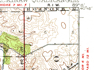 Reduced fragment of topographic map en--usgs--063k--057017--(1932)--N040-45_W089-30--N040-30_W089-15; towns and cities Washington, Morton, Deer Creek, Eureka, Goodfield