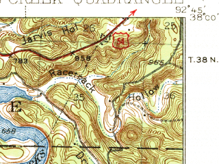 Reduced fragment of topographic map en--usgs--063k--057018--(1939)--N038-00_W093-00--N037-45_W092-45; towns and cities Macks Creek