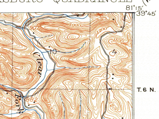 Reduced fragment of topographic map en--usgs--063k--057020--(1903)--N039-45_W081-30--N039-30_W081-15; towns and cities Dexter City, Lower Salem, Macksburg