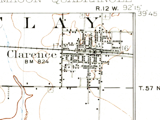 Reduced fragment of topographic map en--usgs--063k--057022--(1908)--N039-45_W092-30--N039-30_W092-15; towns and cities Macon, Cairo, Clarence, Jacksonville