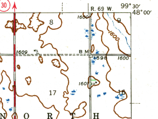Reduced fragment of topographic map en--usgs--063k--057025--(1945)--N048-00_W099-45--N047-45_W099-30; towns and cities Hamberg, Maddock