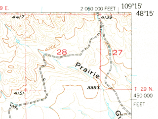 Reduced fragment of topographic map en--usgs--063k--057026--(1956)--N048-15_W109-30--N048-00_W109-15