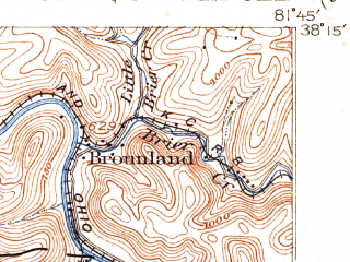 Reduced fragment of topographic map en--usgs--063k--057034--(1911)--N038-15_W082-00--N038-00_W081-45; towns and cities Danville, Madison