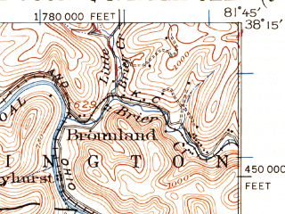 Reduced fragment of topographic map en--usgs--063k--057034--(1929)--N038-15_W082-00--N038-00_W081-45; towns and cities Madison, Danville