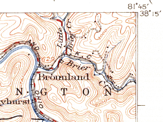 Reduced fragment of topographic map en--usgs--063k--057034--(1931)--N038-15_W082-00--N038-00_W081-45; towns and cities Danville, Madison