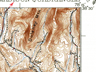 Reduced fragment of topographic map en--usgs--063k--057038--(1933)--N038-30_W078-30--N038-15_W078-15; towns and cities Madison, Stanardsville