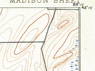 Reduced fragment of topographic map en--usgs--063k--057039--(1890)--N043-15_W089-30--N043-00_W089-15 in area of Lake Mendota, Lake Monona; towns and cities Madison, Waunakee, Mcfarland, Monona, Shorewood Hills