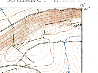Reduced fragment of topographic map en--usgs--063k--057051--(1892)--N041-00_W076-15--N040-45_W076-00; towns and cities Shenandoah, Mahanoy City, Shenandoah Heights, Tuscarora, West Hazleton