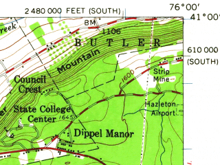 Reduced fragment of topographic map en--usgs--063k--057051--(1955)--N041-00_W076-15--N040-45_W076-00; towns and cities Mahanoy City, Shenandoah, Conyngham, Frackville, Gilberton