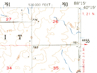 Reduced fragment of topographic map en--usgs--063k--057053--(1957)--N040-15_W088-30--N040-00_W088-15; towns and cities Champaign, Savoy, Bondville, Lake Of The Woods