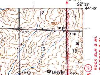 Reduced fragment of topographic map en--usgs--063k--057056--(1940)--N044-45_W092-30--N044-30_W092-15; towns and cities Ellsworth, Maiden Rock, Bay City