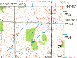 Reduced fragment of topographic map en--usgs--063k--057056--(1950)--N044-45_W092-30--N044-30_W092-15; towns and cities Bay City, Ellsworth, Maiden Rock