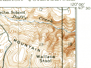 Reduced fragment of topographic map en--usgs--063k--057060--(1914)--N047-30_W120-15--N047-15_W120-00; towns and cities Rock Island